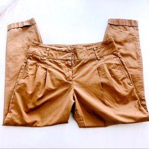 Zara Basic blush pleated & cropped pants sz med